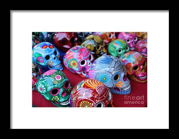 Dia De Los Muertos Framed Print featuring the photograph Skulls Day Of The Dead by Chuck Kuhn