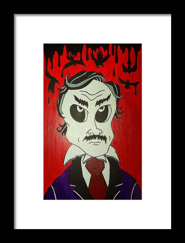 Edgar Framed Print featuring the painting Skully Poe by Chris Fifty-one
