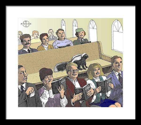Church Skunk Cartoon Framed Print featuring the mixed media Skunk Goes To Church - Sits In Own Pew by Gary Peterson