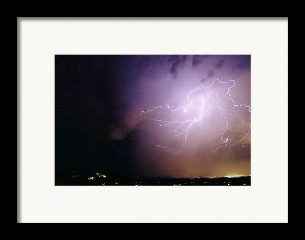 Lightning Framed Print featuring the photograph Sky Angel by Cathy Franklin