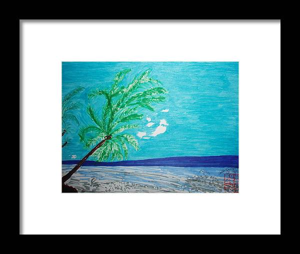 Palm Trees Framed Print featuring the painting Sky Blue Palm Tree Beach by Golden Dragon