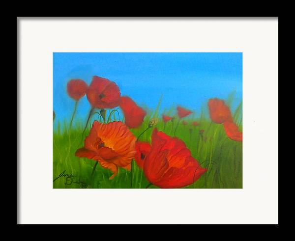 Red Impressionism Framed Print featuring the painting Sky Blue Poppies by Portland Art Creations