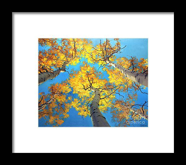 Aspen Trees Birch Gary Kim Oil Print Art Nature Scenes Hospital Healing Environment Patient Santa Fe Fall Trees Autumn Season Beautiful Beauty Yellow Red Orange Fall Leaves Foliage Autumn Leaf Color Mountain Oil Painting Original Art Horizontal Landscape National Park America Morning Nature Wallpaper Outdoor Panoramic Peaceful Scenic Sky Sun Travel Vacation View Season Bright Autumn National Park America Clouds Landscape Natural New Painting Oil Original Vibrant Texture Reflections Bluesky Framed Print featuring the painting Sky High Aspen Trees by Gary Kim