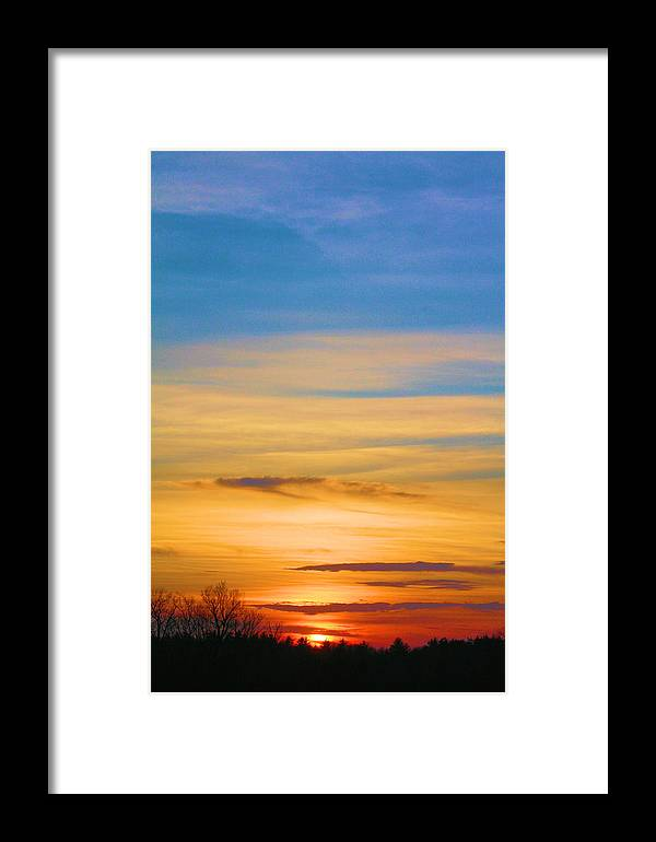Blue Sky Framed Print featuring the photograph Sky On Fire...... by Lewis Journeyman