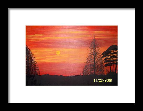 Landscape Framed Print featuring the painting Sky On Fire by Paula Ferguson