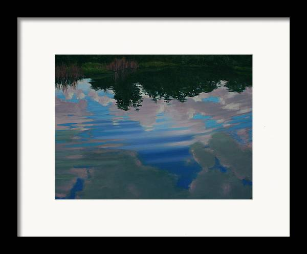 Oil On Canvas Framed Print featuring the painting Sky Pond by Michael Vires