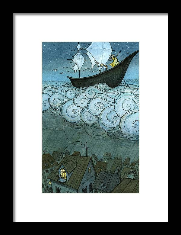 Framed Print featuring the drawing Sky Sailing by Eliza Wheeler