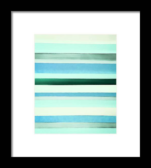 Stripes Framed Print featuring the painting Sky Stripes 13 by Barry Knauff