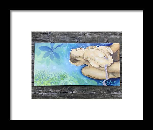 Baby Framed Print featuring the painting Sky Woman's Daughter by Owisokon Lahache