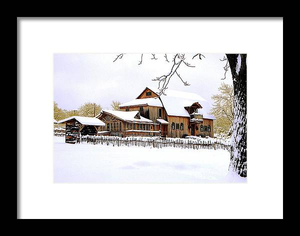 Barn Framed Print featuring the photograph Skyland Farms In Winter by Roger Soule