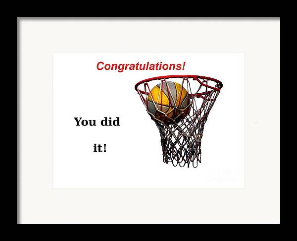 Basketball Framed Print featuring the photograph Slam Dunk Congratulations Greeting Card by Yali Shi