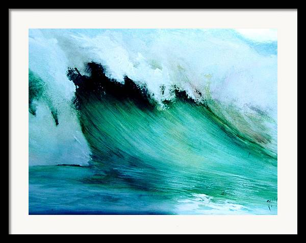 Surf Framed Print featuring the painting Slaughterhouse Beach Maui by Paul Miller