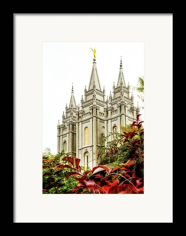 Framed Print featuring the photograph Slc Temple Angle by La Rae Roberts