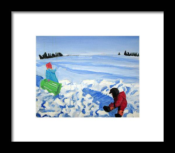 Snow Framed Print featuring the painting Sledding by Alicia Kroll