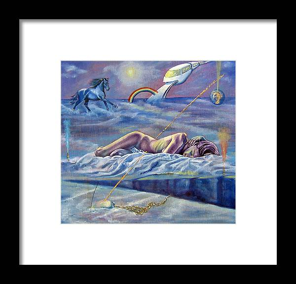 Female Nude Framed Print featuring the painting Sleep Crack by Maritza Sanipatin