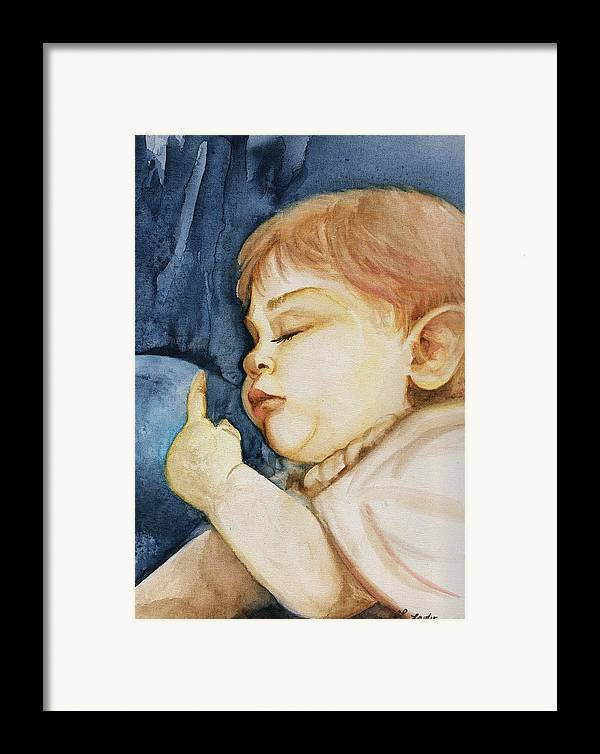 Portrait Commission Framed Print featuring the painting Sleep by L Lauter