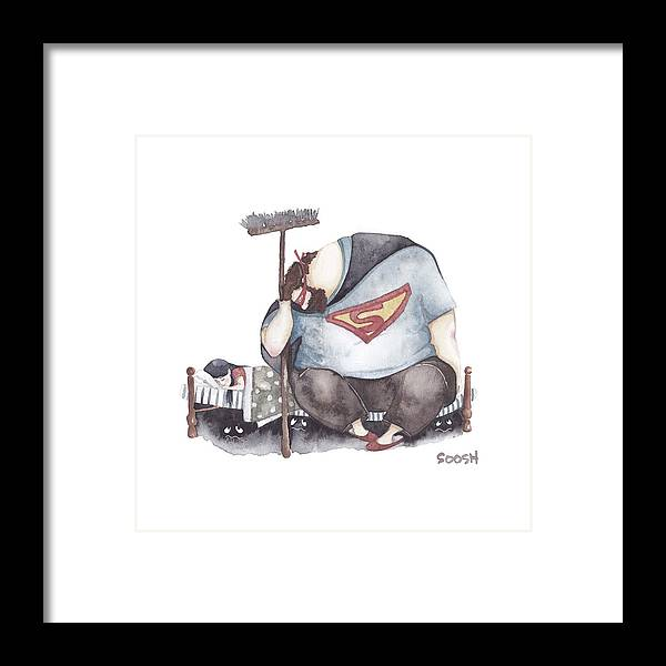 Father Framed Print featuring the painting Sleep my little one by Soosh