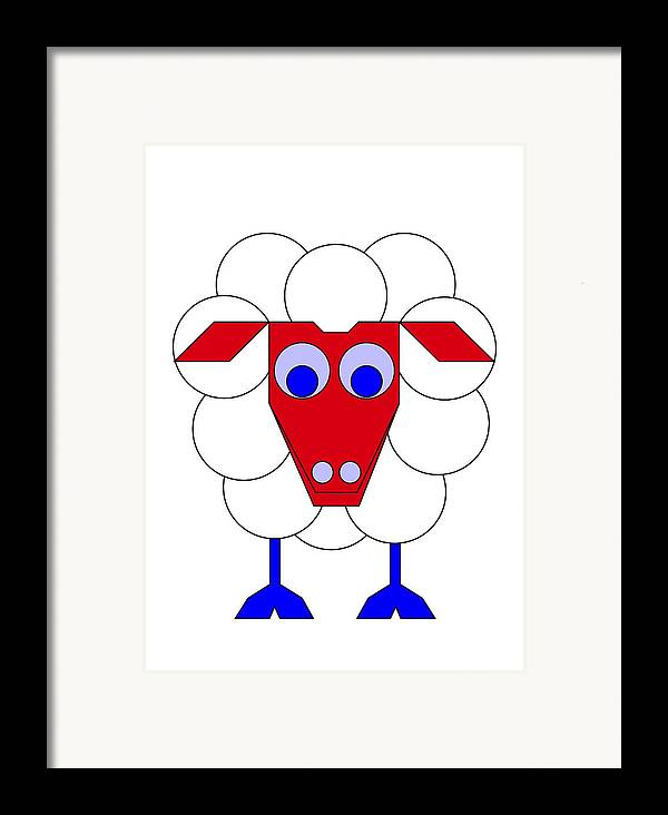 Sleep-sheep Framed Print featuring the digital art Sleep-sheep by Asbjorn Lonvig