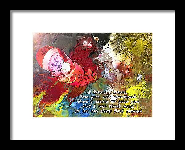Messiah Painting Framed Print featuring the painting Sleepig Messiah by Miki De Goodaboom