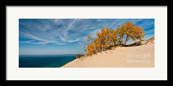 Panaramic Framed Print featuring the photograph Sleeping Bear Overlook by Larry Carr