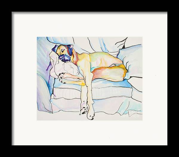 Great Dane Framed Print featuring the painting Sleeping Beauty by Pat Saunders-White
