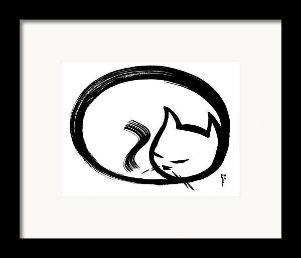 Cats Animals Ink Sumi Calligraphy Japanese Chinese Oriental Framed Print featuring the painting Sleeping Cat by Poul Costinsky