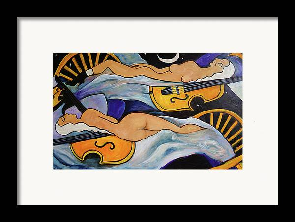 Musicians Framed Print featuring the painting Sleeping Cellists by Valerie Vescovi