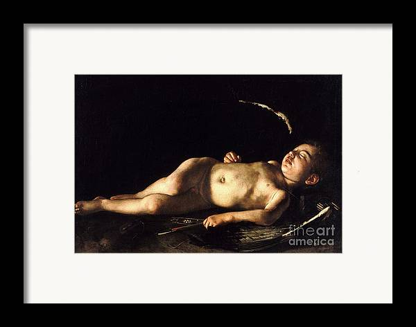 1596 Paintings Framed Print featuring the painting Sleeping Cupid by Pg Reproductions