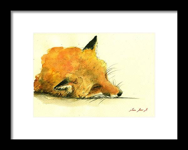 Fox Art Wall Framed Print featuring the painting Sleeping Fox by Juan Bosco