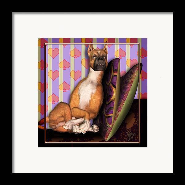 Dog Framed Print featuring the digital art Sleeping II by Nik Helbig