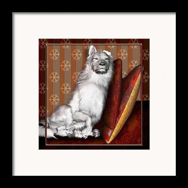 Dog Framed Print featuring the digital art Sleeping Iv by Nik Helbig