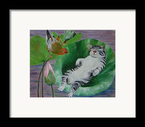 Fantasy Framed Print featuring the painting Sleeping Kitten by Lian Zhen
