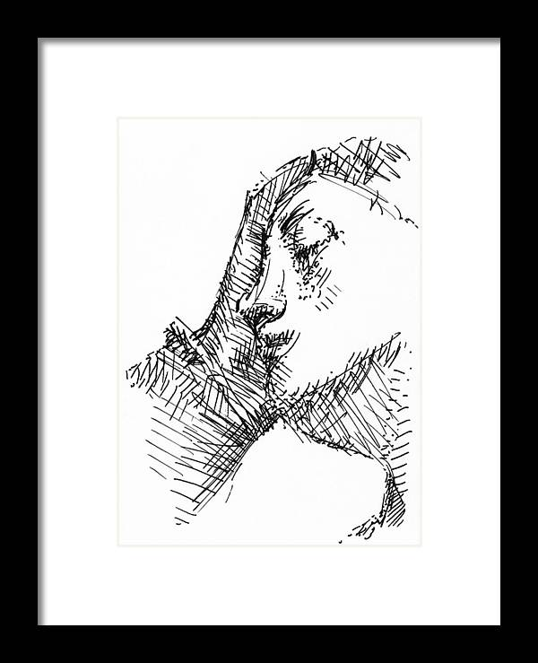 Pen Framed Print featuring the drawing Sleeping Woman by Peter Jochems