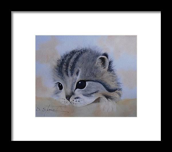 Animal Portrait Framed Print featuring the painting Sleepy Kitten by Sandra Stone