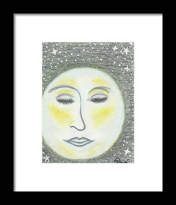 Moon Framed Print featuring the drawing Sleepy Moon by Ingrid Szabo