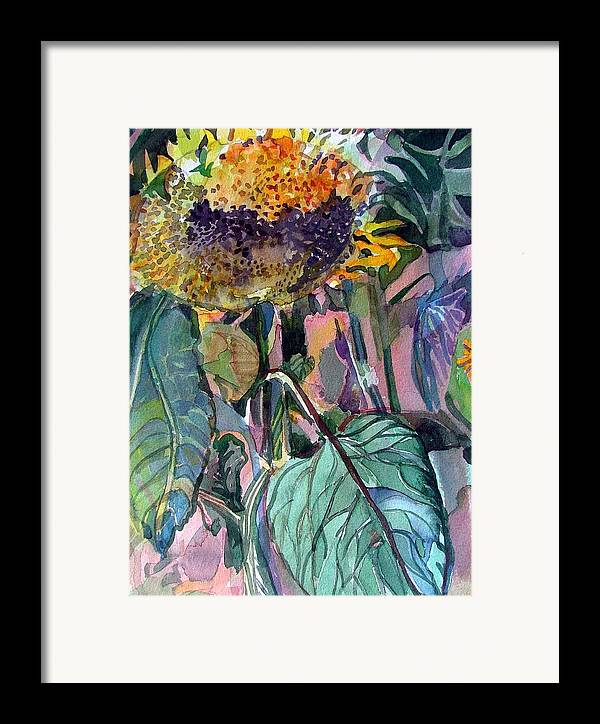 Sunflower Framed Print featuring the painting Sleepy Sunflower by Mindy Newman
