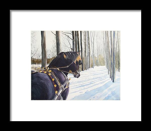 Horse Framed Print featuring the painting Sleigh Bells by Ally Benbrook