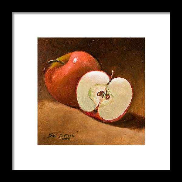 Apple Framed Print featuring the painting Sliced Apple by Joni Dipirro