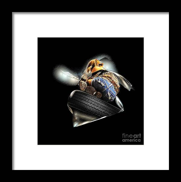 People Framed Print featuring the mixed media Slide Off Tire by Viktor Savchenko