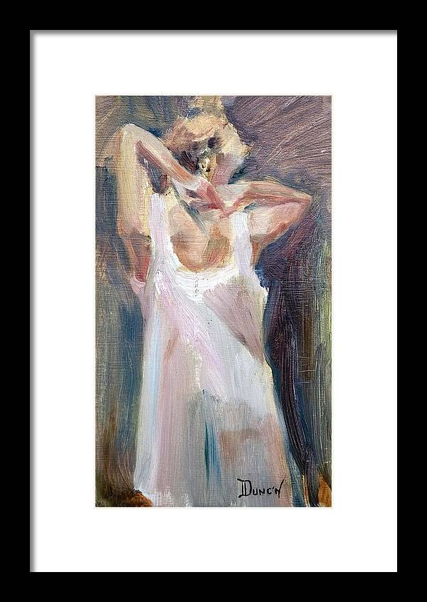 Female In Under Garment Framed Print featuring the painting Slip by Bob Duncan