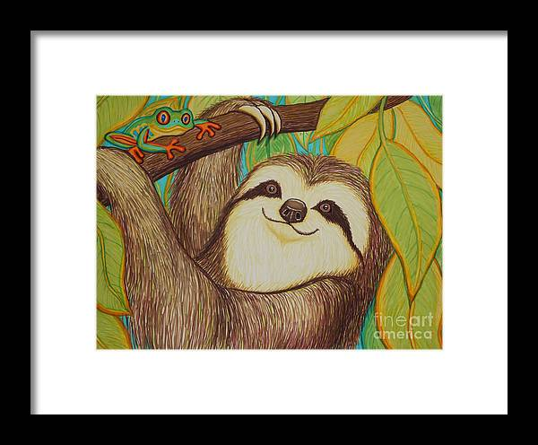 Sloth Framed Print featuring the drawing Sloth And Frog by Nick Gustafson
