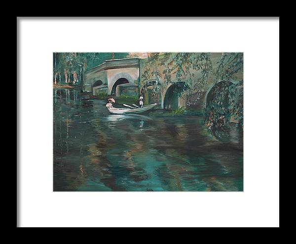 River Framed Print featuring the painting Slow Boat - Lmj by Ruth Kamenev