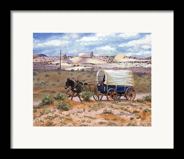Navajo Indian Southwestern Monument Valley Wagons Framed Print featuring the painting Slow Boat To Chinle by John Watt