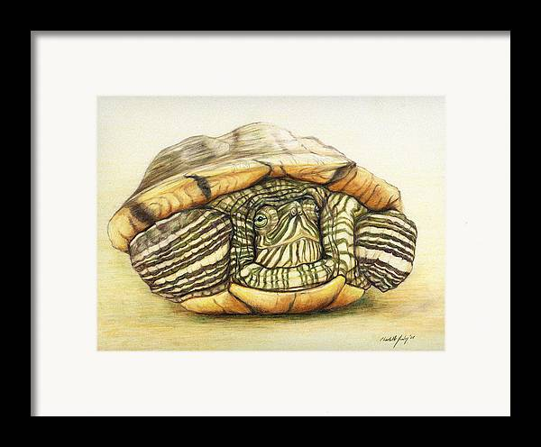Turtle Framed Print featuring the painting Slow Retreat by Charlotte Yealey