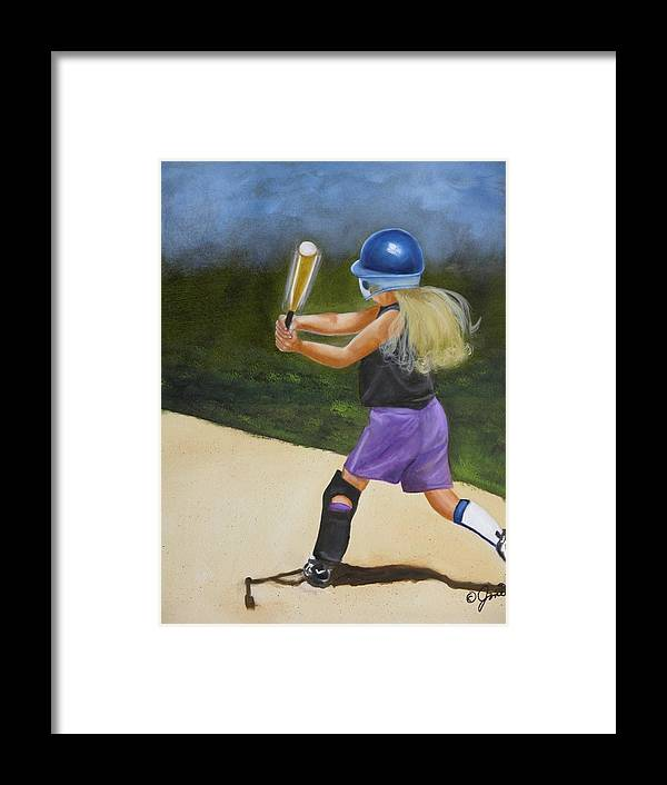 Child Framed Print featuring the painting Slugger by Joni McPherson