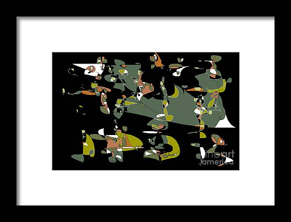 Abstract Cartoon Drawing Framed Print featuring the digital art Slumber Party by Nancy Kane Chapman