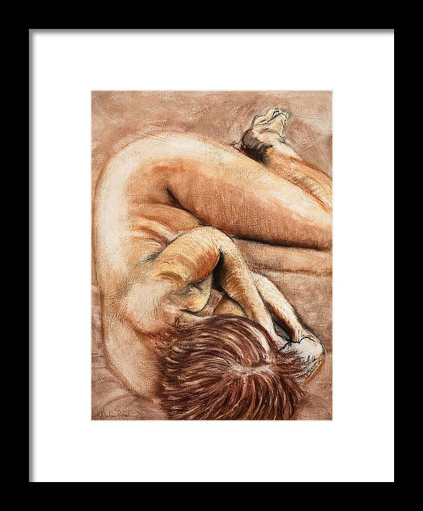 Nude Framed Print featuring the drawing Slumber Pose by Kerryn Madsen-Pietsch