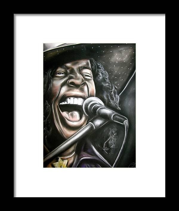 Sly Stone Framed Print featuring the drawing Sly Stone by Zach Zwagil