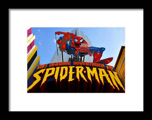 Spider Man Framed Print featuring the photograph Spider Man Ride Sign. by David Lee Thompson