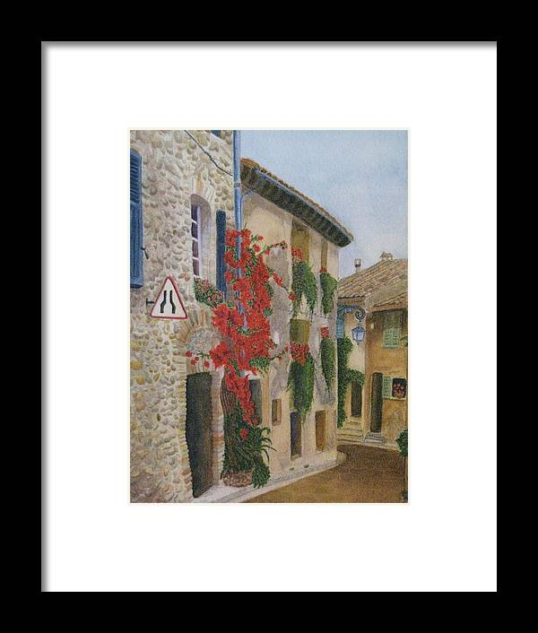 France Framed Print featuring the painting Small French Village by Barbara Pascal